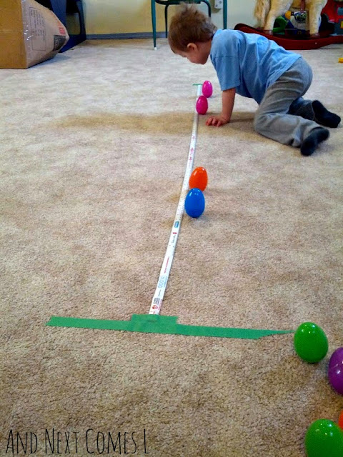 Measuring distance with wobbly Easter eggs from And Next Comes L