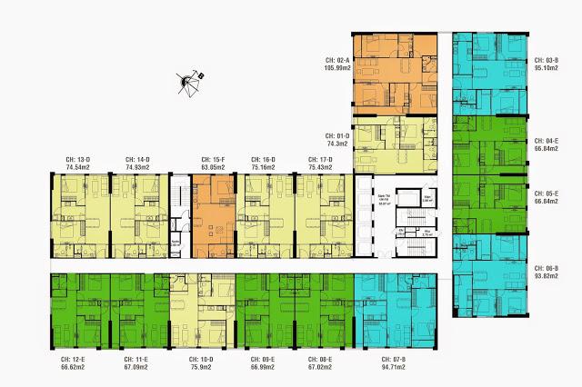 Mặt bằng tầng căn hộ điển hình tòa CT4 Eco Dream