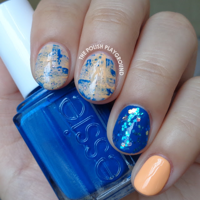 Blue and Orange Brushstroke Skittle Nail Art