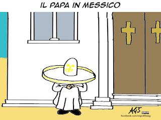 papa francesco, messico, viaggio pastorale, vignetta satira