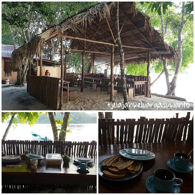 bilik makan menghadap laut Talaip Homestay, Raja Ampat +jelajahkeluargasuwanto