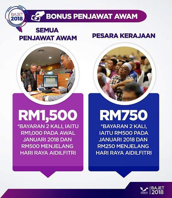 Bonus Penjawat Awam RM1,500 Dibayar 2 Kali Tahun 2018