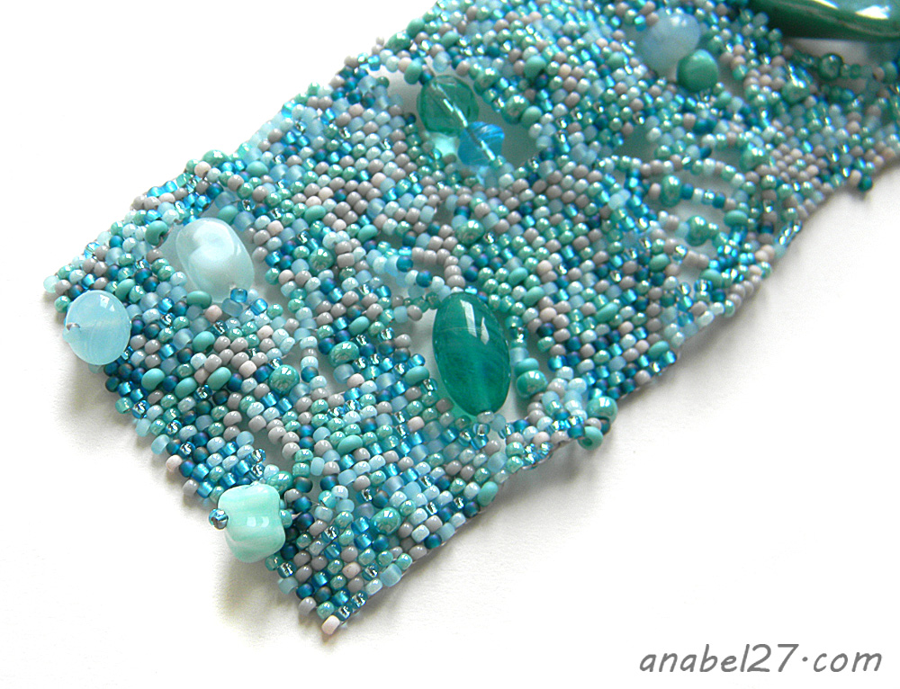 Bohemian jewelry turquoise beaded bracelet free form eadwork