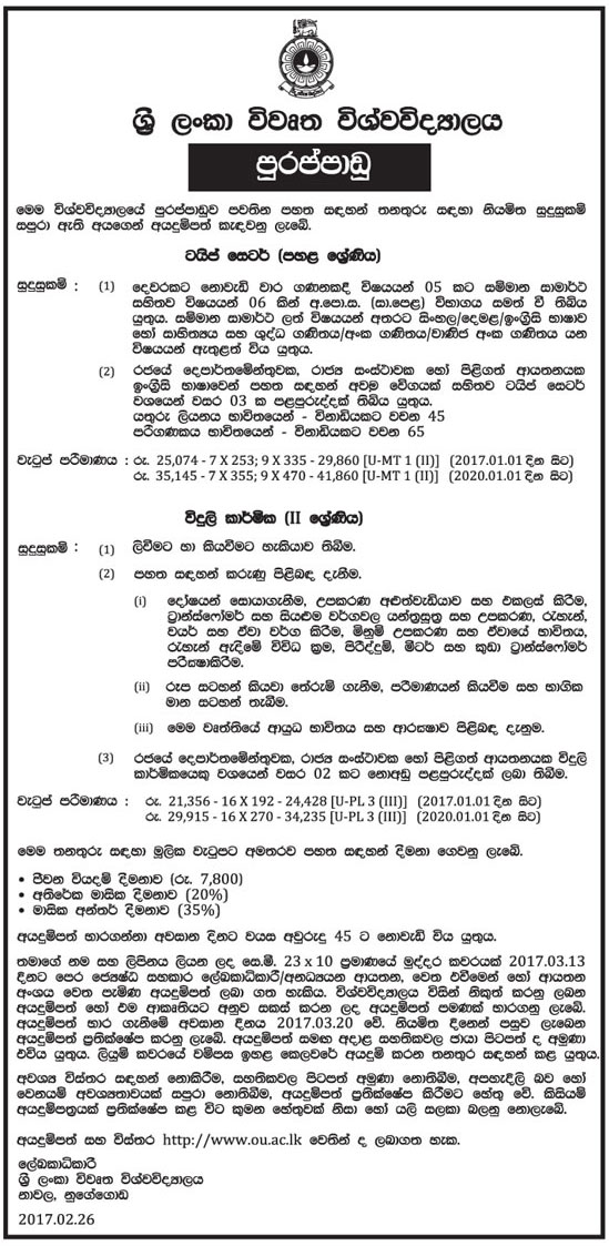 Sri Lankan Government Job Vacancies at Open University of Sri Lanka for Type Setter, Electrician