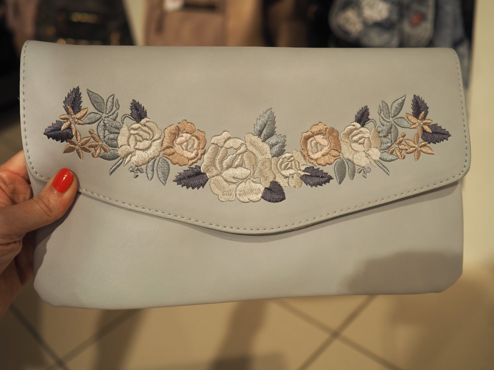 What to wear for York Races, New Look pale blue embroidered clutch bag, over 40