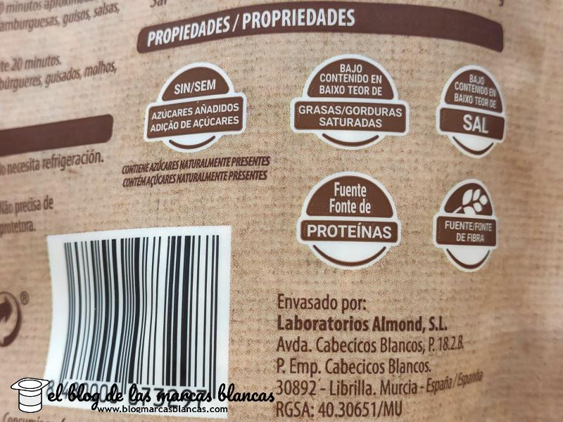 Fabricante y propiedades de la proteína de soja texturizada de grano fino Hacendado de Mercadona en el blog de las marcas blancas.
