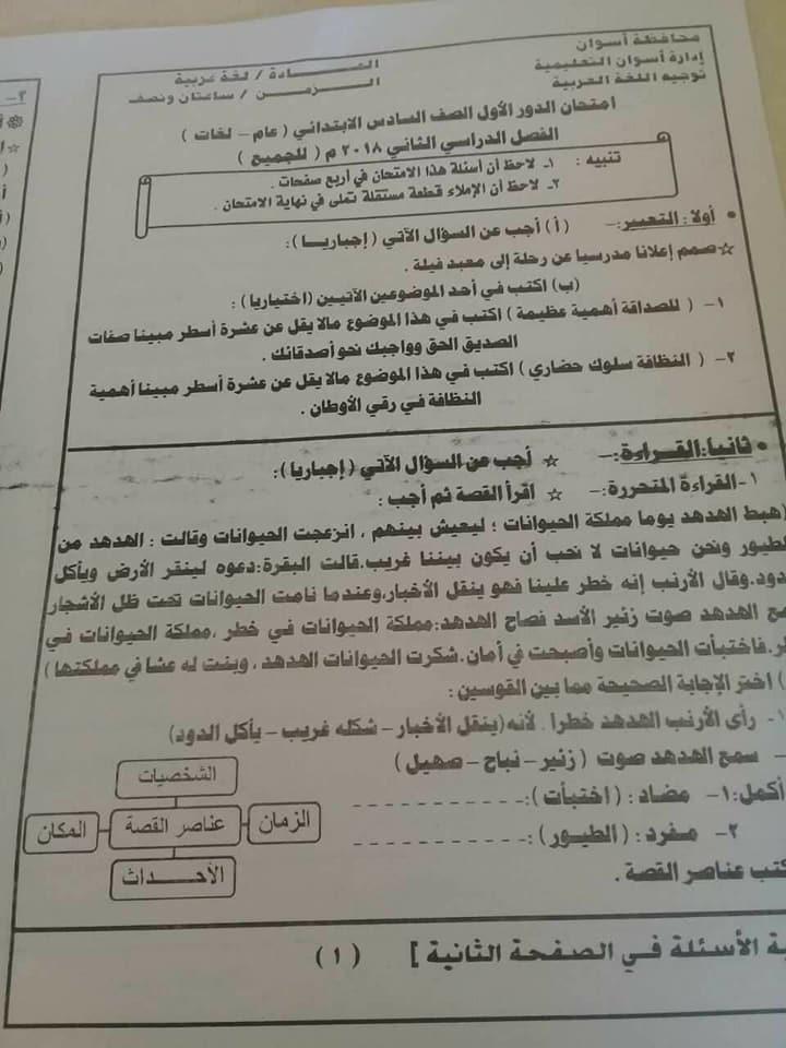 امتحان عربى للصف السادس إدارة كوم أمبو. أسوان .آخر العام 2018