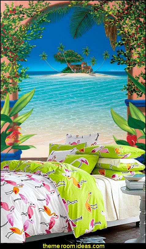 Flamingo Bedding Sets Tropical Wall Murals Beach Bedrooms Tropical Theme  Decorating Part 75