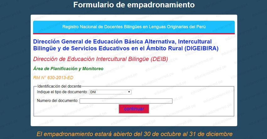 EMPADRONAMIENTO 2018: Registro Nacional de Docentes Bilingües en Lenguas Originarias del Perú - MINEDU - www.minedu.gob.pe