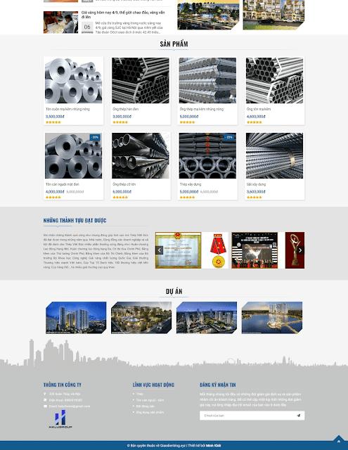 Template blogspot công ty + bán sản phẩm Halugroup - Giaodienblog.com