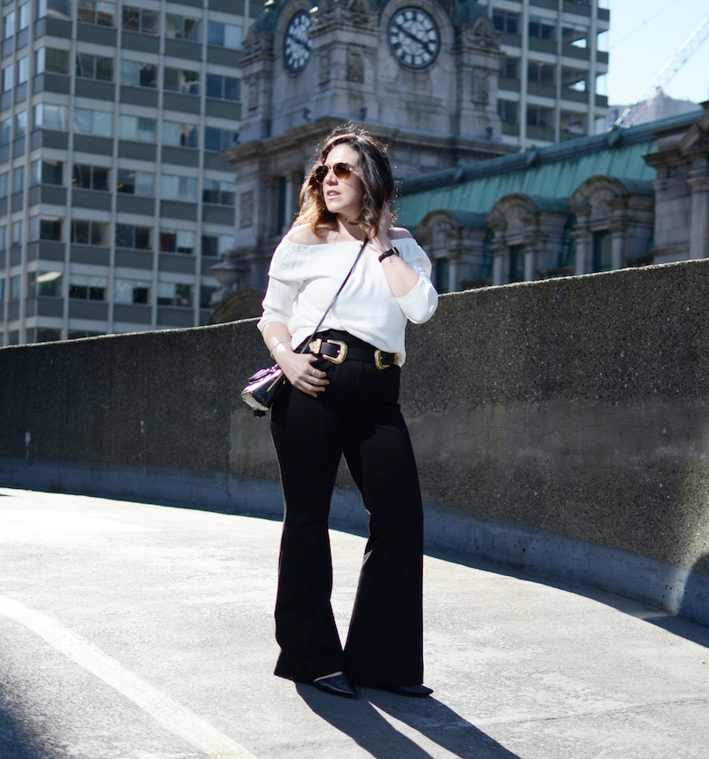 Spring date outfit idea off the shoulder top and flared trousers Vancouver fashion blogger Le Chateau