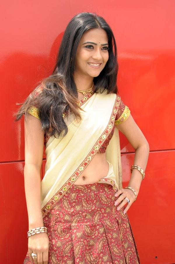 Aditi Sharma Cute in Half Saree-CinemaGallop