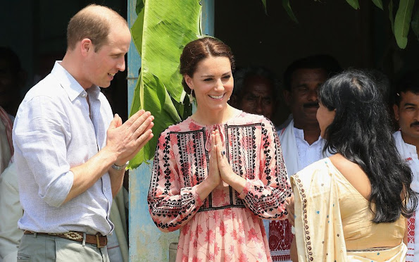 Prince William and Kate Middleton visit a village tea garden in Kaziranga, some 250kms from Guwahati, the capital of the north-eastern state of Assam