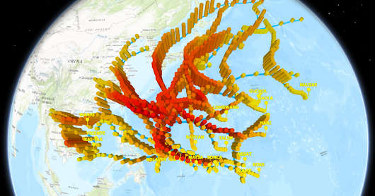 3D Web Scene of Earthquakes, Tornadoes, Typhoons and Cities