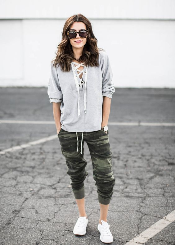 Hello Fashion Grey Lace Up Sweatshirt + Camo Jogger Pants