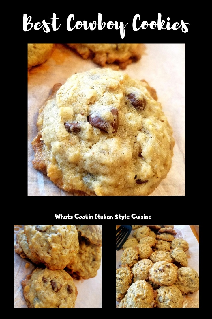 these are a homemade from scratch cookie with coconut, nuts, chocolate chips and called the everything cookies, sometimes called cowboy cookies or even Barbara Bush Cookies.