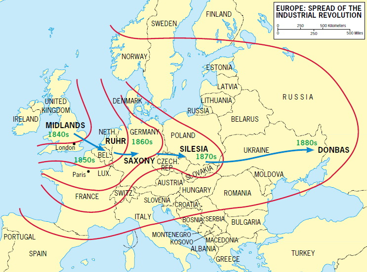 Europe: Spread of the industrial revolution