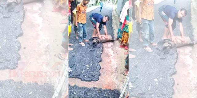 Jalan Aspal Mirip Karpet Gegerkan Sumatera, Anggarannya Miliaran loh!