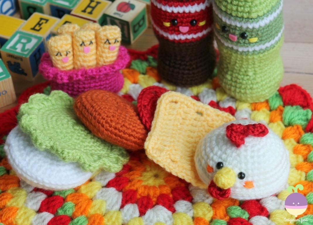 Amigurumi Food: Chicken Burger & Friends!! New Crochet Pattern ...