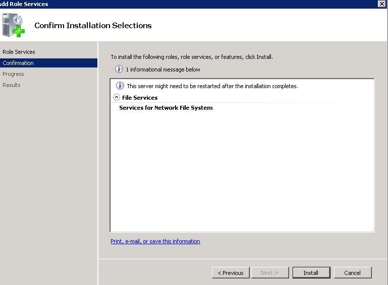 Create NFS Datastore for ESX in WIndows Server 2008 R2