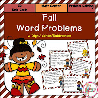 Fall Word Problems using 2 Digit Addition and Subtraction Task Cards