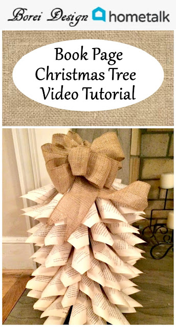 borei design home talk diy recycled book page Christmas tree home decor craft video tutorial