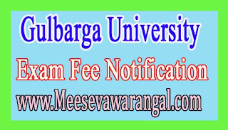Gulbarga University MBA IIIrd Sem Theory Dec 2016 Exam Fee Notification