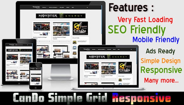 Cando Grid Responsive Blogger Template 90 Degree Template