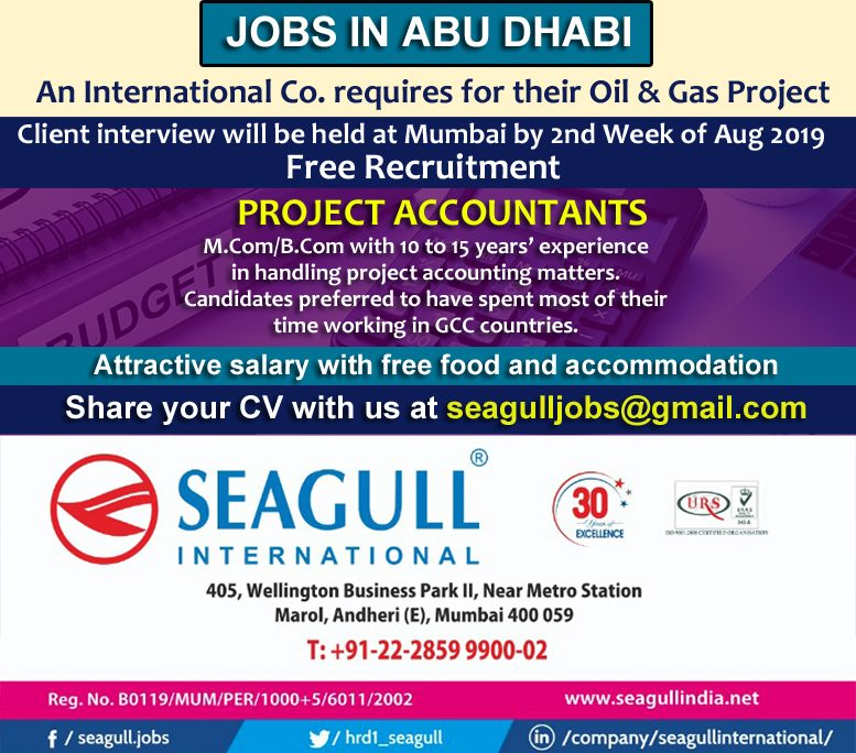 Project Accountants required for Abu Dhabi