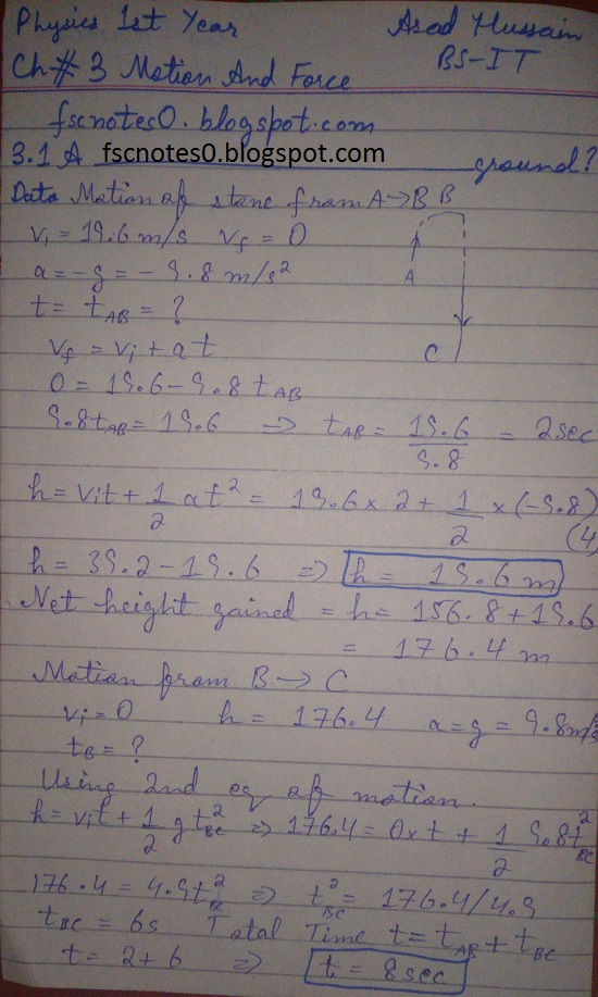 F.Sc ICS Notes: Physics XI: Chapter 3 Motion and Force Numerical Problems Asad Hussain