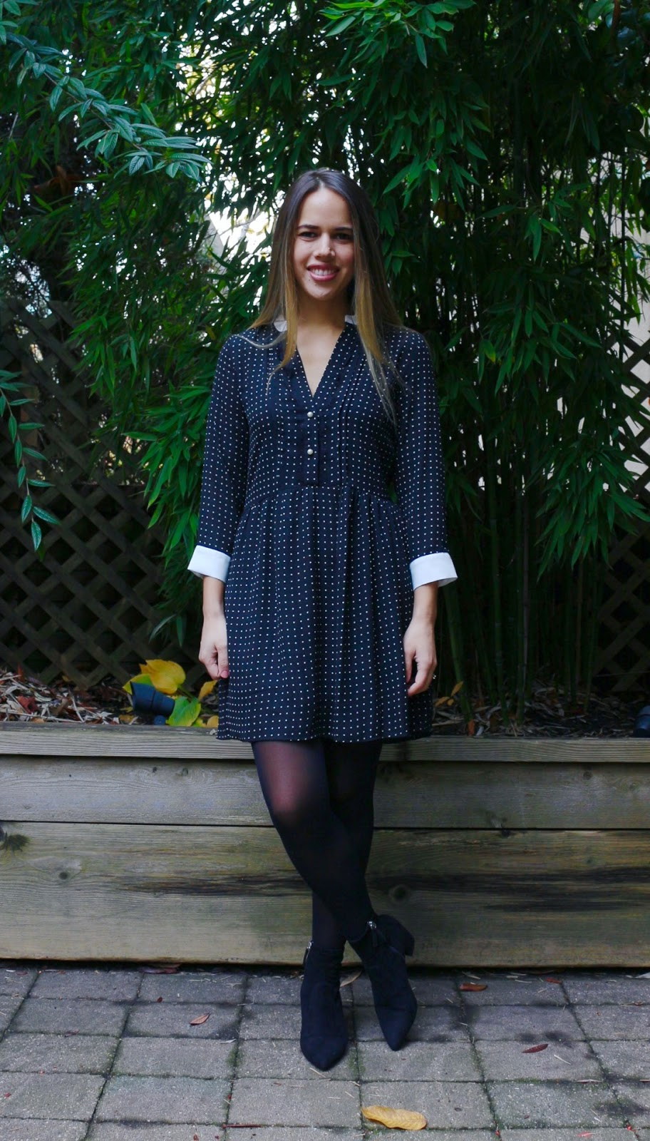 Jules in Flats - Zara Dot Dress + Steve Madden Blaire Booties (Business Casual Fall Workwear on a Budget)
