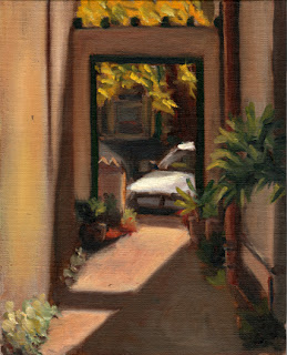 Oil painting of a car viewed through an opening at the end of an alleyway with afternoon sunlight and cast shadows.