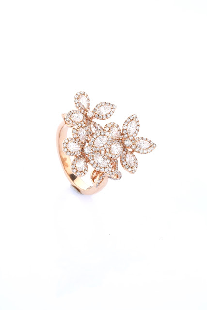 Entice Wedding Orchid _ Rose gold floral ring