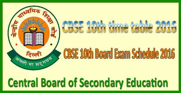 CBSE Board 10th Date Sheet 2016