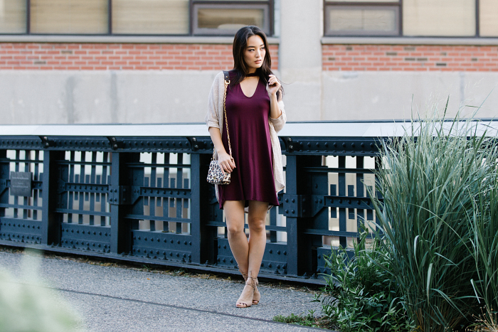 burgundy dress on korean fashion blogger
