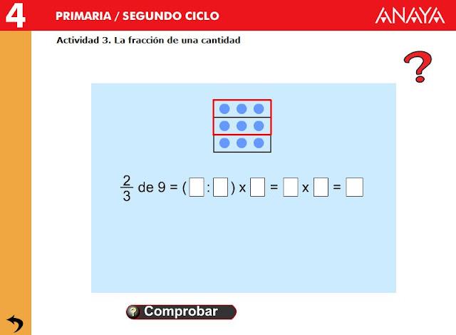 """""""Fracción de una cantidad"""" (Matemáticas de Primaria)"""