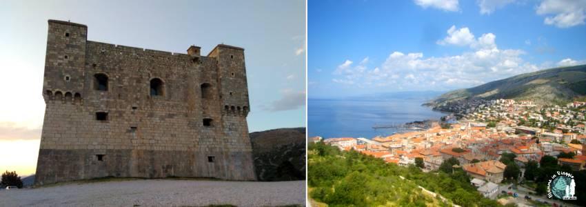 La fortezza medievale Nehaj e la vista di Segna dalla cima delle sue torri