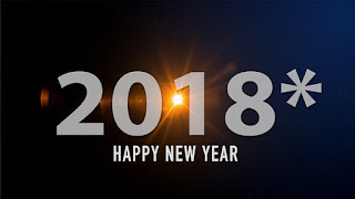 New Year 2018 background dark, bold text with star