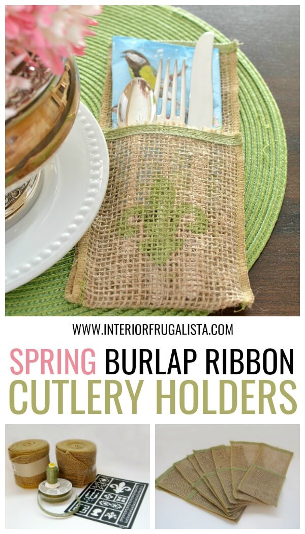 These handy reusable Burlap Ribbon Flatware Pockets with French Country Style are easy-sew OR no-sew DIY silverware pouches for dinner parties. #flatwarepockets #cutlerypouches #silverwareholders
