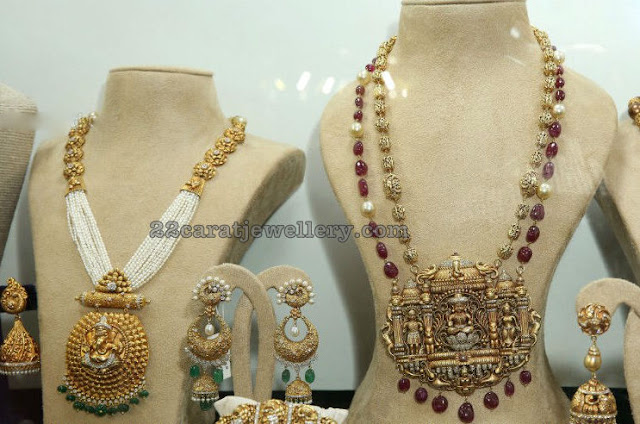 Temple Pendants with Pearls and Ruby Beads Chains