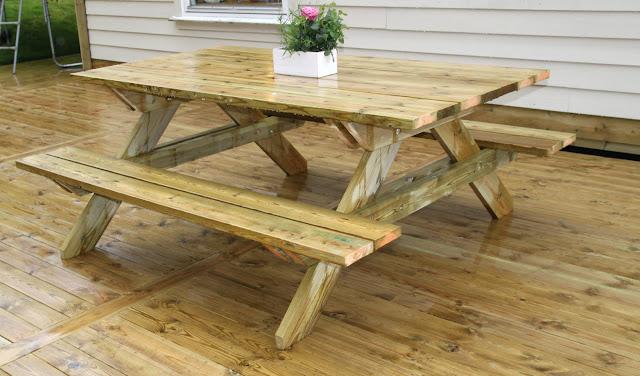 Glimrende Barbros lille atelier: Hjemmelaget bord med benker OK-73