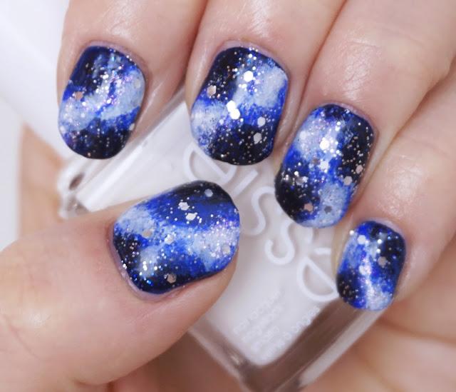 Galaxy Nails Essie - Starry Starry Night, Glitter Design