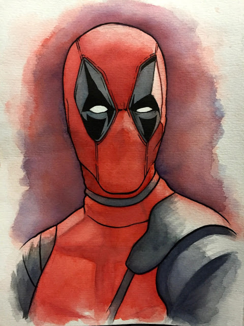 Deadpool Watercolor Illustration Photo