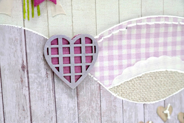 Lavender Breeze Layered Chipboard Mixed Media Heart by Dana Tatar for FabScraps