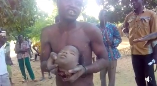 Ritualist nabbed with a little girl's head in Bauchi state, flogged by villagers (Photos)
