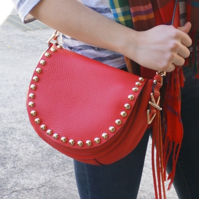 Tartan scarf and Rebecca Minkoff red unlined studded saddle bag | Away From The Blue