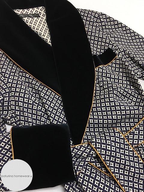 Gentleman's cotton velvet dressing gown shawl collar robe men's lounge robes vintage style