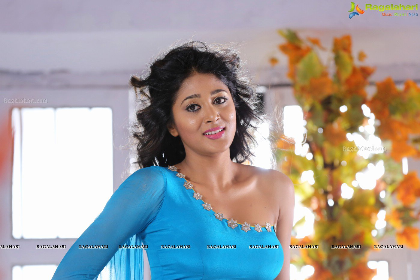 Sushma Raj in Beautiful Transparent Shiffon Low Rise Saree and Blue Choli Spicy Pics