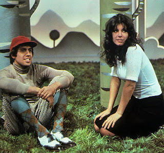 Celentano with his wife, actress Claudia Mori, on the  set of a TV show in 1972