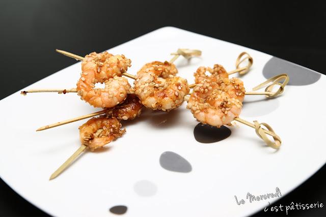 Brochettes de crevettes au sésame